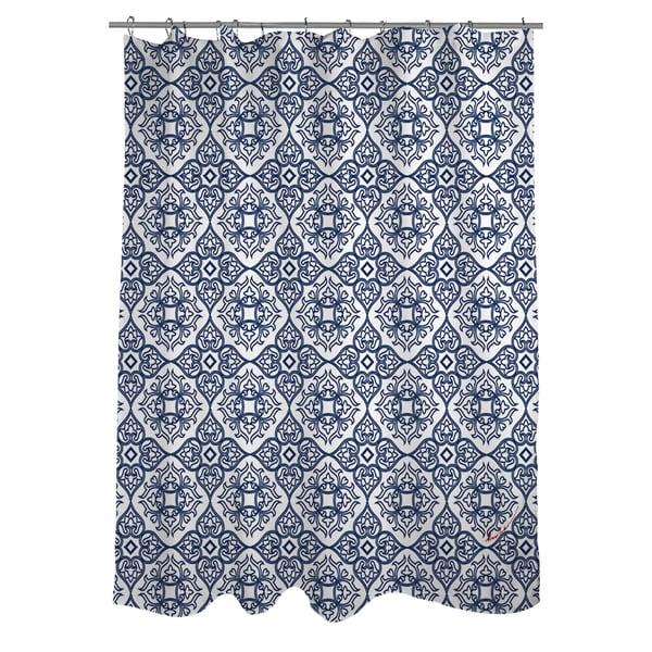 Winter Garden Baroque Navy On White Shower Curtain
