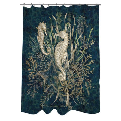 Sea Horse Vignette Shower Curtain
