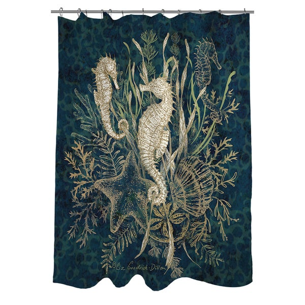 Thumbprintz Sea Horse Vignette Shower Curtain - 16553713 - Overstock ...