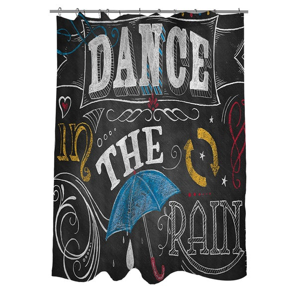 Chalkboard Dance In The Rain Shower Curtain