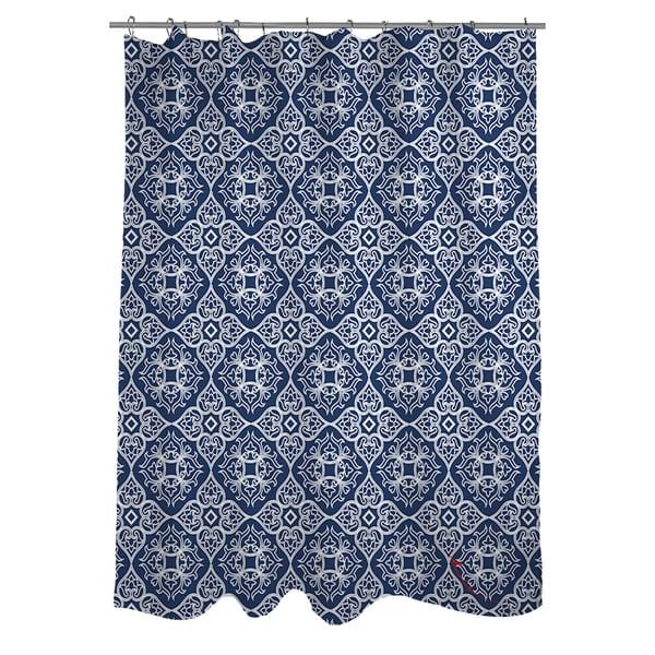 Winter Garden Baroque White on Navy Shower Curtain