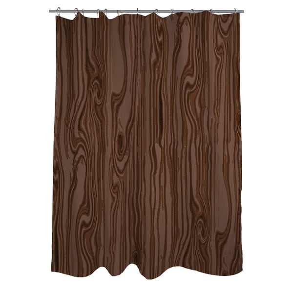 Wood Grain Large Scale Brown Shower Curtain