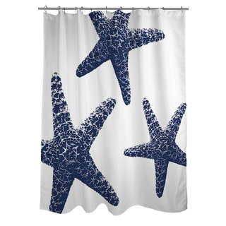 Thumbprintz Nautical Nonsense Blue/ White Starfish Shower Curtain