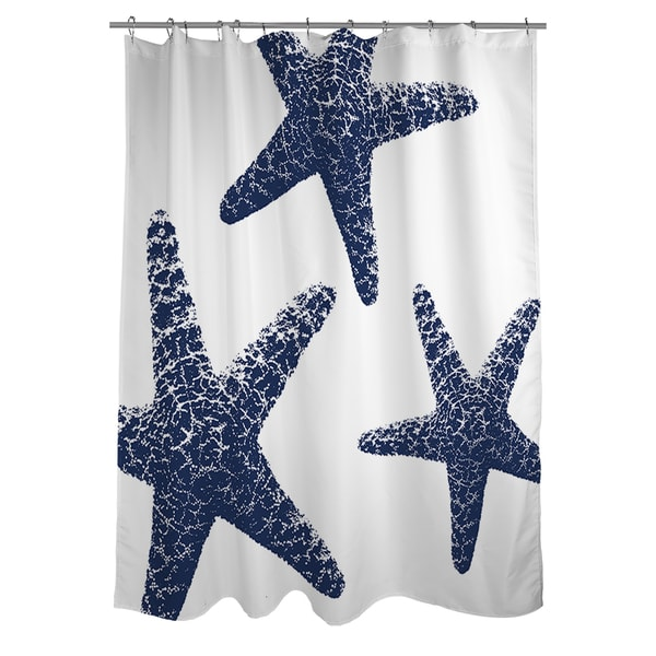 Nautical Nonsense Blue/ White Starfish Shower Curtain