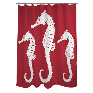 thumbprintz nautical nonsense white red seahorses shower curtain