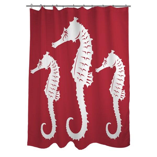 Nautical Nonsense White/ Red Seahorses Shower Curtain