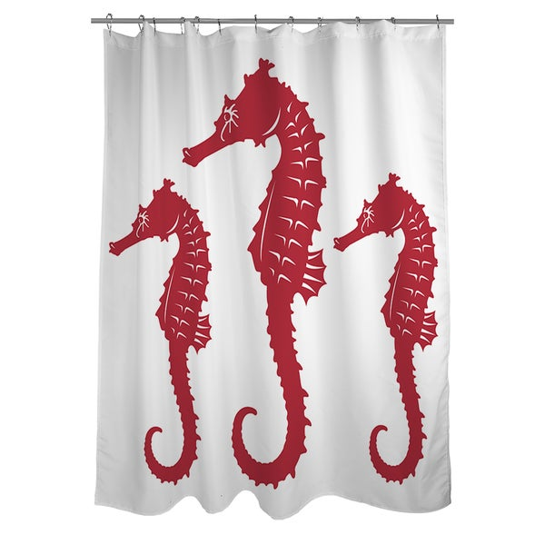 Nautical Nonsense Red White Seahorses Shower Curtain