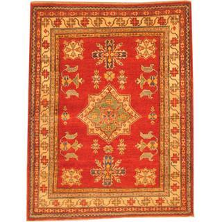 Herat Oriental Afghan Hand-knotted Kazak Red/ Beige Wool Rug (4'1 x 5'4)