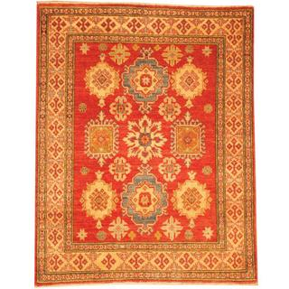 Herat Oriental Afghan Hand-knotted Kazak Red/ Beige Wool Rug (4' x 5'1)