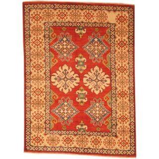 Herat Oriental Afghan Hand-knotted Kazak Red/ Beige Wool Rug (4'1 x 5'7)