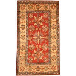 Herat Oriental Afghan Hand-knotted Kazak Rust/ Beige Wool Rug (4'2 x 5'2)