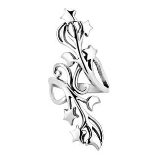 Handmade Gorgeous Stars and Half Moon Swirl Vine .925 Sterling Silver Ring (Thailand)