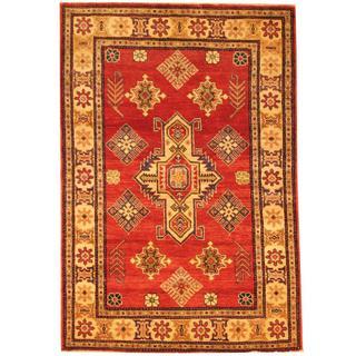 Herat Oriental Afghan Hand-knotted Kazak Red/ Beige Wool Rug (4' x 5'11)
