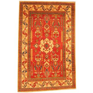 Herat Oriental Afghan Hand-knotted Kazak Red/ Beige Wool Rug (4' x 6'2)
