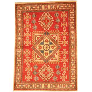 Herat Oriental Afghan Hand-knotted Kazak Red/ Beige Wool Rug (3'11 x 5'7)