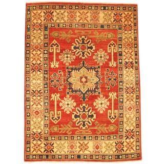 Herat Oriental Afghan Hand-knotted Kazak Rust/ Beige Wool Rug (3'5 x 4'8)