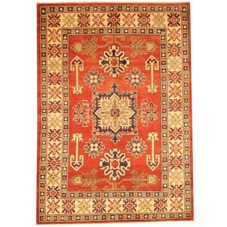 Herat Oriental Afghan Hand-knotted Kazak Rust/ Beige Wool Rug (3'6 x 5')