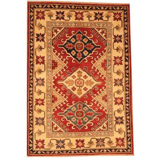 Herat Oriental Afghan Hand-knotted Kazak Red/ Beige Wool Rug (3'10 x 5'7)