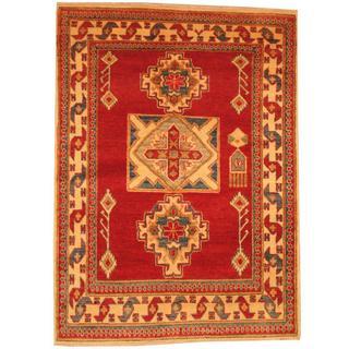 Herat Oriental Afghan Hand-knotted Kazak Red/ Beige Wool Rug (3'9 x 5'1)