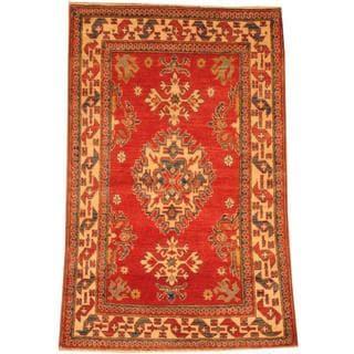 Herat Oriental Afghan Hand-knotted Kazak Red/ Beige Wool Rug (3'6 x 5'6)