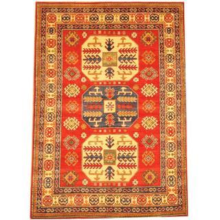 Herat Oriental Afghan Hand-knotted Kazak Red/ Beige Wool Rug (5'1 x 7'2)