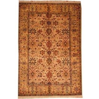 Herat Oriental Indo Hand-knotted Mahal Tan/ Gold Wool Rug (6' x 9')
