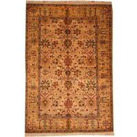 Herat Oriental Indo Hand-knotted Mahal Tan/ Gold Wool Rug (6' x 9') - 6' x 9'