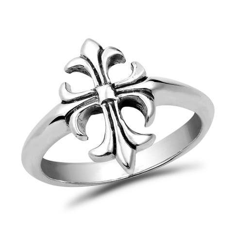 Handmade Parisian Style French Cross .925 Sterling Silver Ring