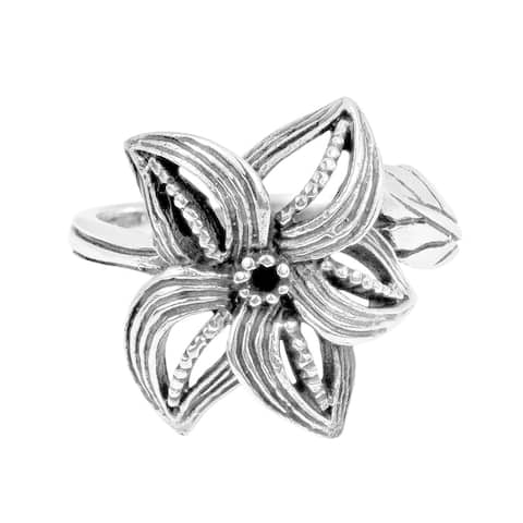 Handmade Curved Petals Beautiful Siam Flower .925 Sterling Silver Ring (Thailand)
