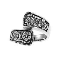 Handmade Alluring Floral Embrace .925 Sterling Silver Wrap Ring (Thailand)