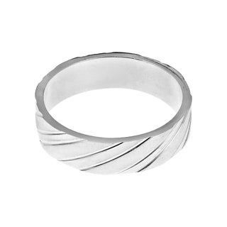 Two Tone Diagonal Stripes .925 Sterling Silver Band Ring (Thailand)