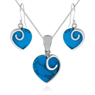 Heart in Love Stone .925 Sterling Silver Jewelry Set (Thailand) (4 options available)