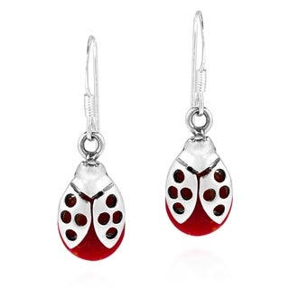 Handmade Summer Love Ladybug Stone .925 Silver Earrings (Thailand)