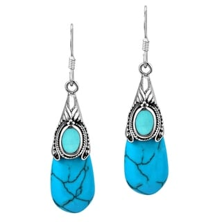 Vintage Turquoise Teardrop .925 Silver Dangle Earrings (Thailand)