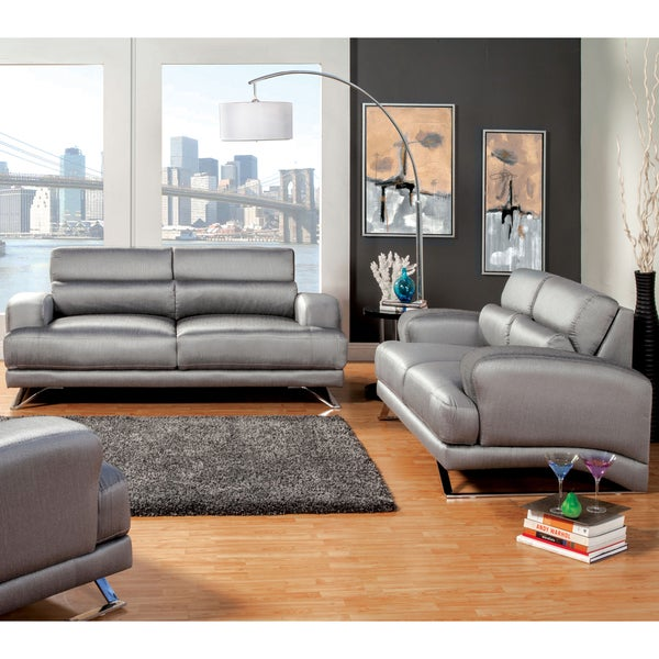 Furniture Of America Juella Silver 2 Piece Upholstered Loveseat And Sofa Set Free Shipping