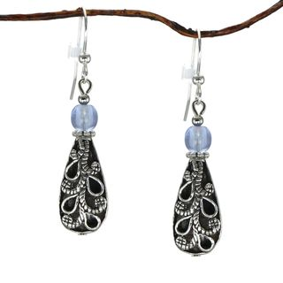 Jewelry by Dawn Antiqued Puffed Teardrop Light Blue Dangle Earrings
