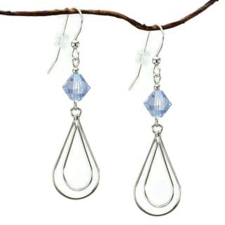 Jewelry by Dawn Sterling Silver Blue Crystal Double Teardrop Earrings