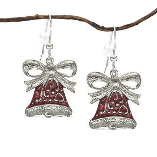 Handmade Jewelry by Dawn Red Bell Holiday Earrings (USA) - Silver