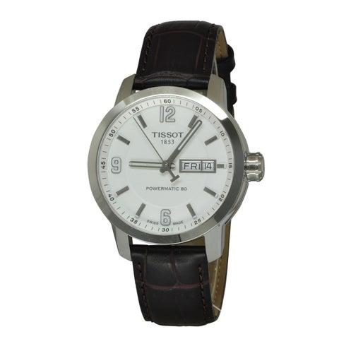 Tissot Men's PRC 200 Automatic White Dial Black Leather Watch