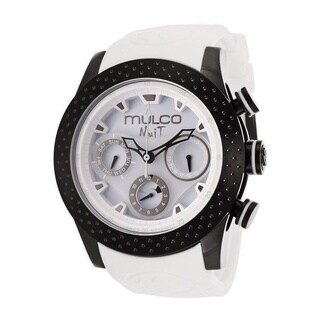 Mulco Women's 'Nuit' Black Ion-plated Steel White Silicone Watch