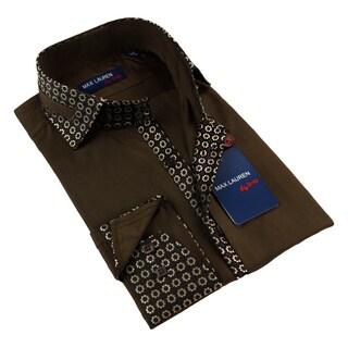 Max Lauren Men's Brown and Floral Button-down Shirt
