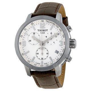 Tissot Men's T0554171601701 PRC 200 Chronograph White Dial Brown Leather Watch