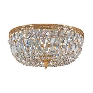 Crystorama Richmond Collection 3-light Olde Brass/ Crystal Flush Mount