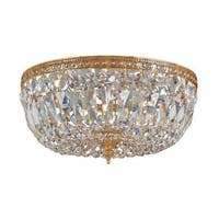 Crystorama Richmond Collection 3-light Olde Brass/ Crystal Flush Mount