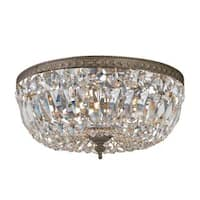 Crystorama Richmond Collection 3-light English Bronze/ Crystal Flush Mount