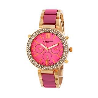 Vernier Paris Women's Swiss Movement Crystal Bezel Pink Enamel Center Chronograph Watch