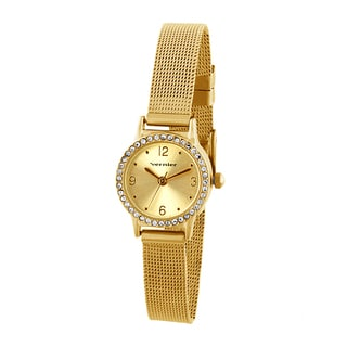 Vernier Women's Mini Goldtone Case Mesh Band Crystal Bezel Watch