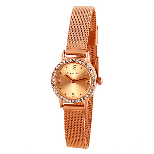 Vernier Women's Mini Rosetone Case Mesh Band Crystal Bezel Watch