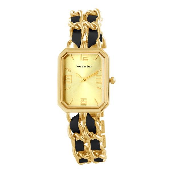 Vernier Women's Goldtone Double Chain Leather Look Inlay Status Octagon Watch