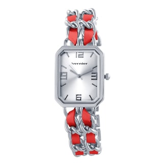 Vernier Women's Silvertone Double Chain Octagon Dial Watch
